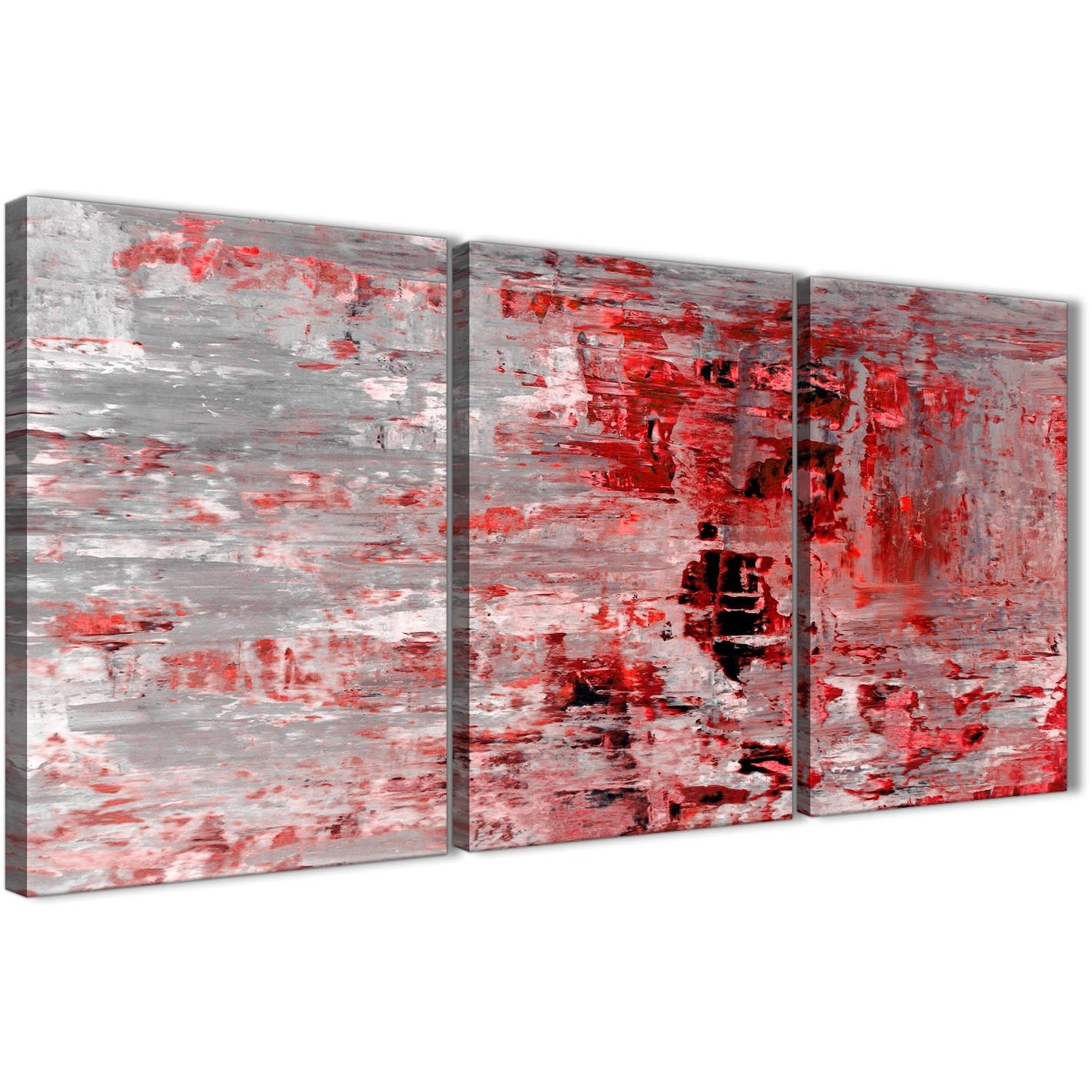 3 Piece Red Grey Painting Living Room Canvas Wall Art Decor Regarding Red Wall Art (Photo 4 of 20)