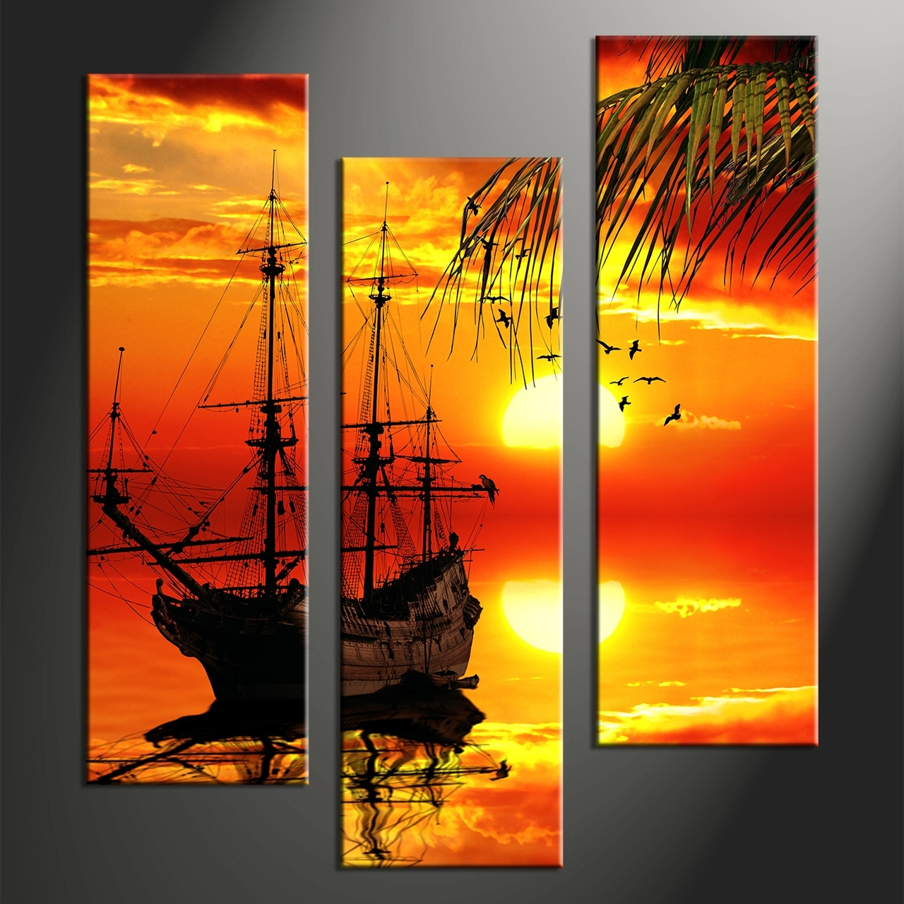 3 Piece Red Sunset Ship Canvas Art Prints, Multi Piece Wall Art Pertaining To Multi Piece Wall Art (Photo 17 of 20)