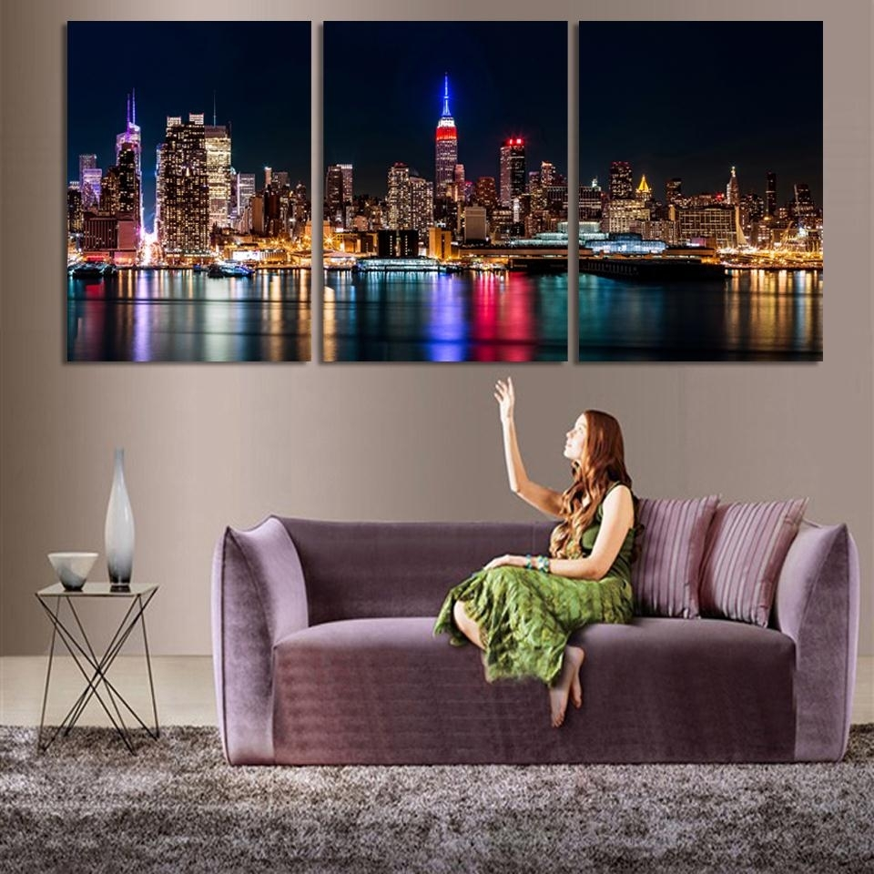 3 Piece/set Wall Art City Hall Night Lights Beside River Wall Inside 3 Piece Canvas Wall Art (Photo 9 of 20)