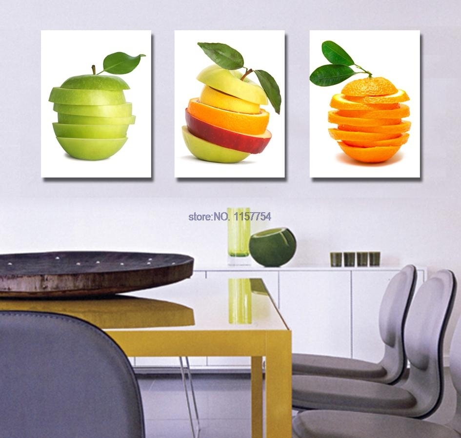 3 Piece Wall Art Fruit Spray Painting For Kitchen Canvas Art Canvas For Kitchen Canvas Wall Art Decors (View 7 of 20)