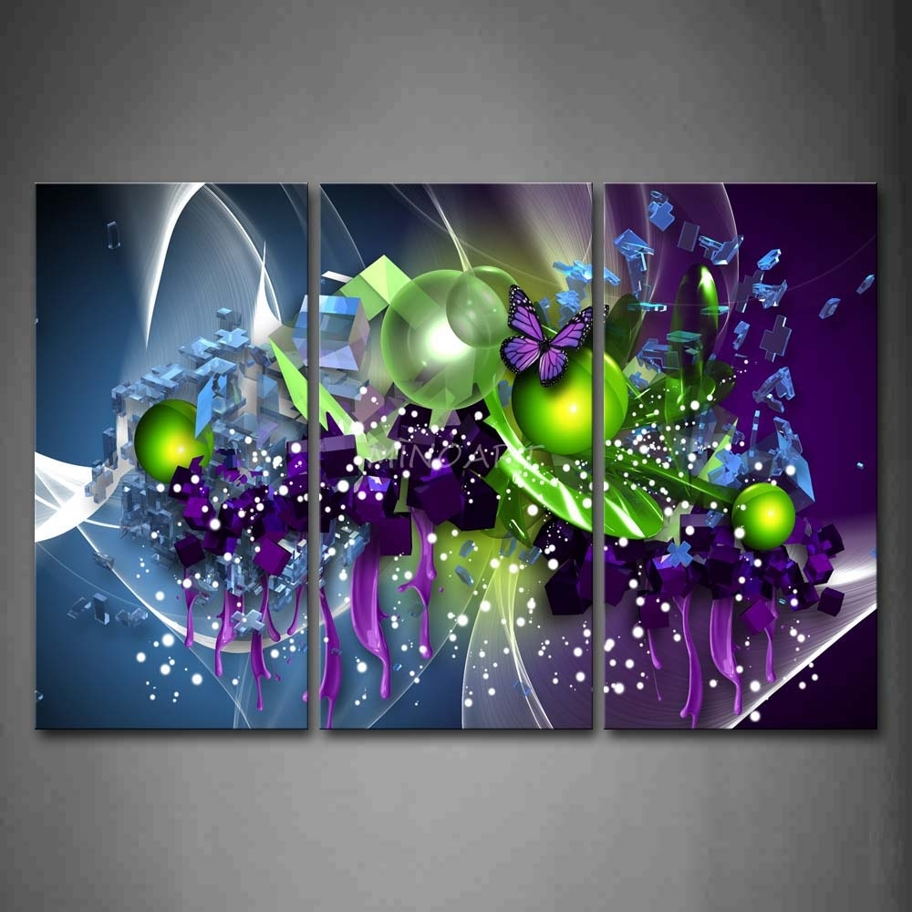 3 Piece Wall Art Painting Artistic Purple Butterfly Green Ball Print in Wall Art Paintings (Image 4 of 20)