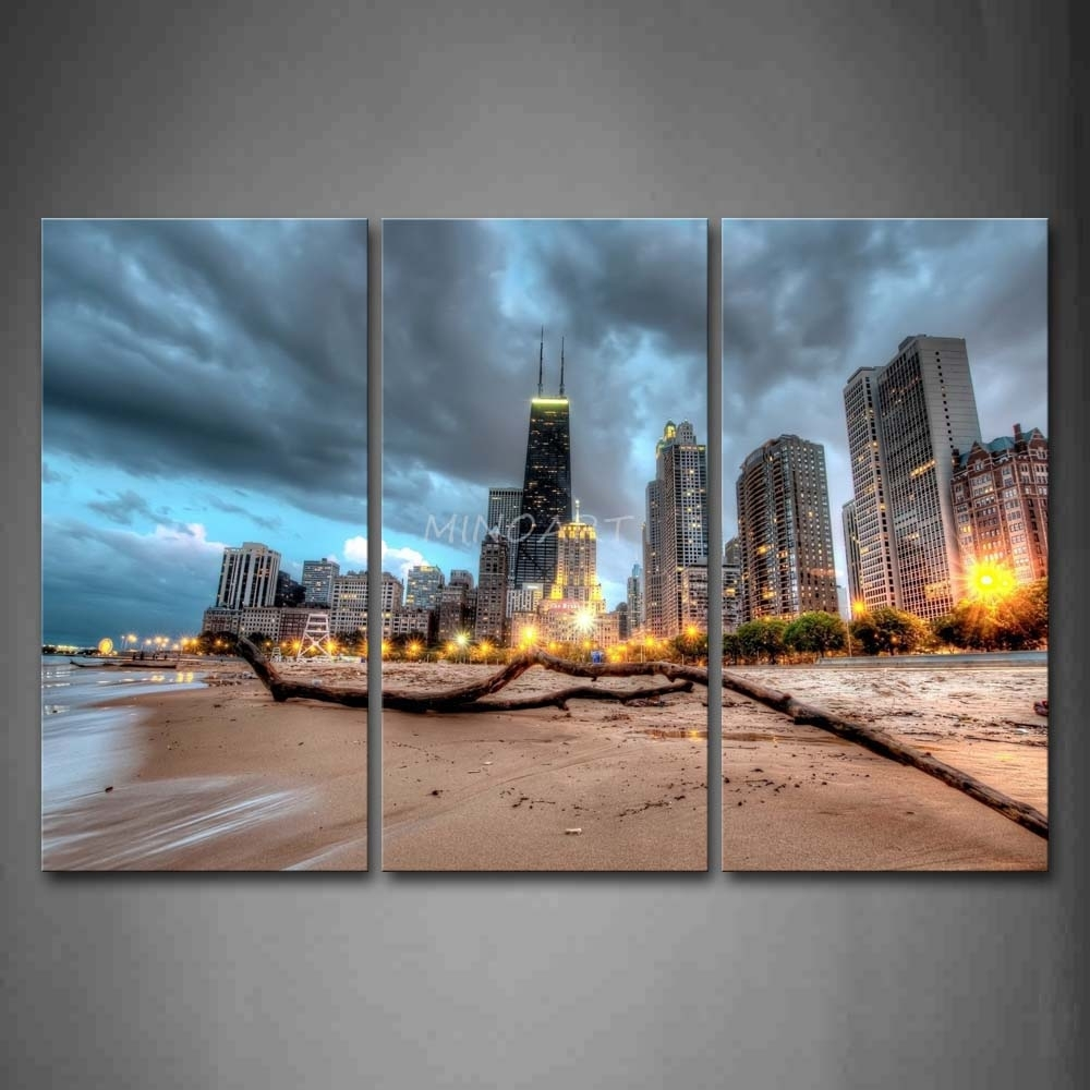 3 Piece Wall Art Painting Chicago Trunk On Beach Near Modern inside Chicago Wall Art (Image 2 of 20)