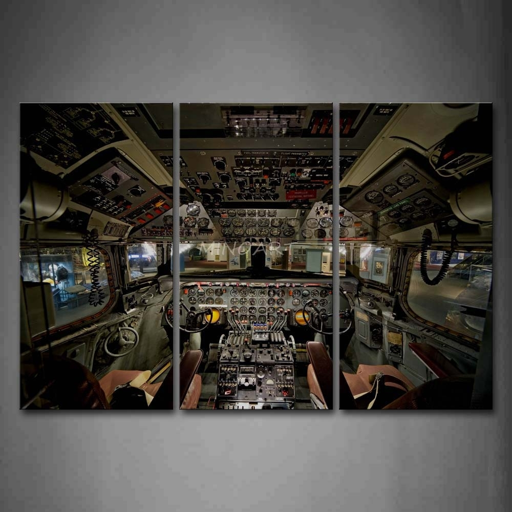3 Piece Wall Art Painting Complex Structures Of Aircraft Inside in Airplane Wall Art (Image 5 of 20)