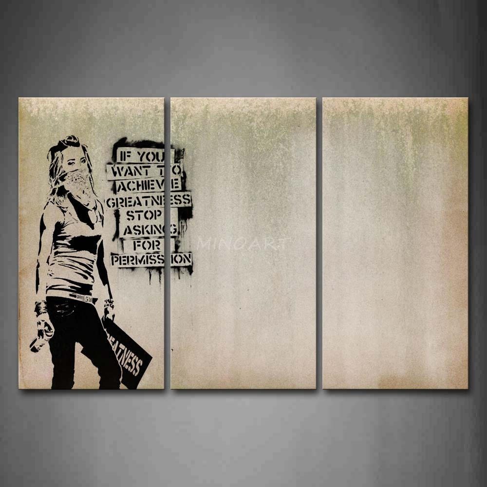 3 Piece Wall Art Painting Cool Girl Looks Arrogant Print, Cool Wall Throughout Cool Wall Art (View 2 of 20)