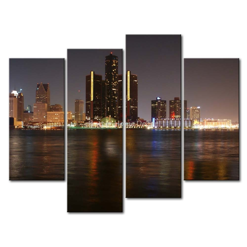 3 Piece Wall Art Painting Detroit Skyline Print On Canvas The Pertaining To Multi Piece Wall Art (Photo 2 of 20)