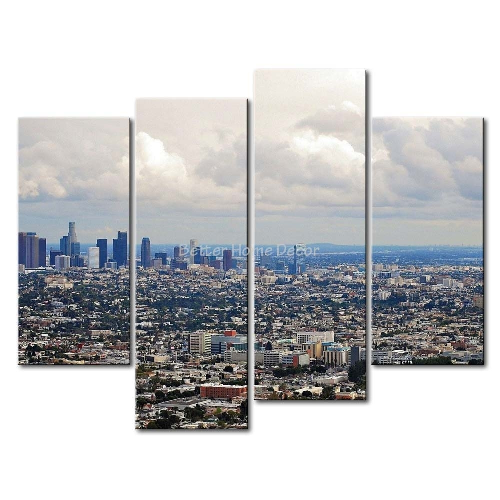 3 Piece Wall Art Painting Los Angeles House Crowd Picture Print On In Los Angeles Wall Art (Photo 3 of 20)