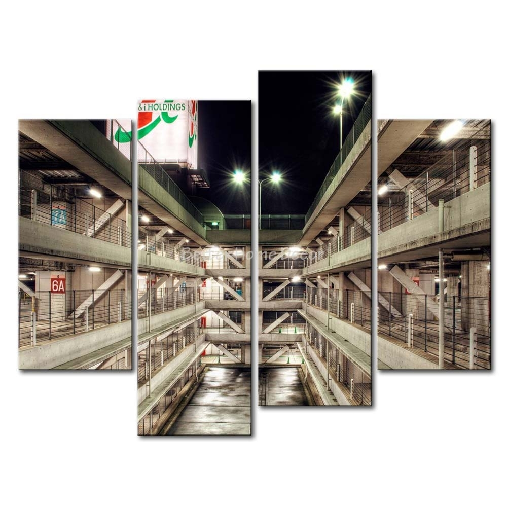 3 Piece Wall Art Painting Multi Storey Car Park In Tokyo Picture pertaining to Multi Piece Wall Art (Image 4 of 20)