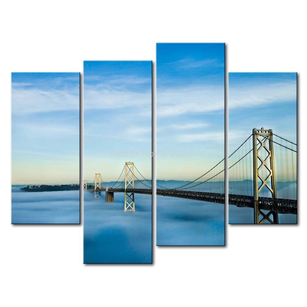 3 Piece Wall Art Painting San Francisco Oakland Bay Bridge Picture With San Francisco Wall Art (Photo 3 of 20)