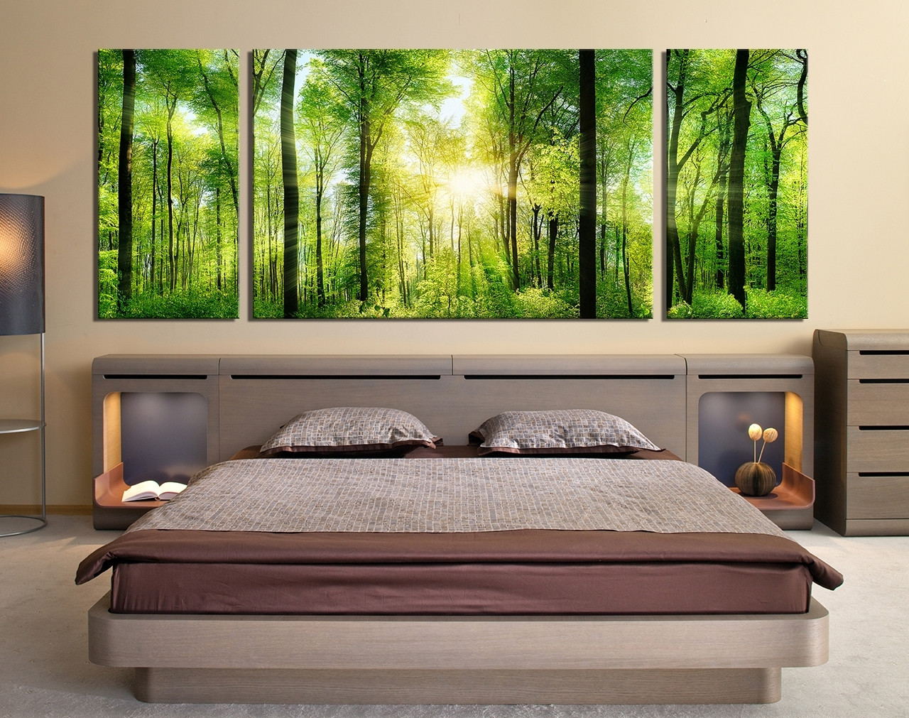 3 Piece Wall Decor, Panoramic Huge Canvas Print, Sunshine, Green In Huge Wall Art (Photo 19 of 20)