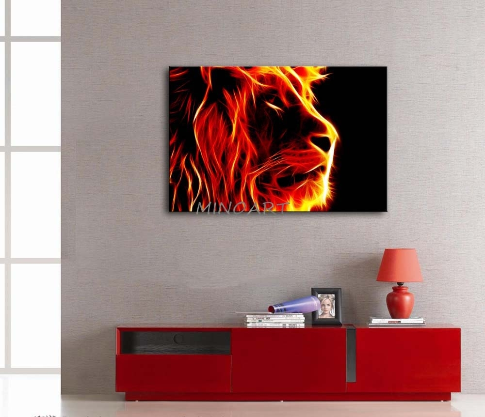 3 Piece Yellow Orange Wall Art Painting Lion Artistic Fire Black With Orange Wall Art (View 9 of 20)