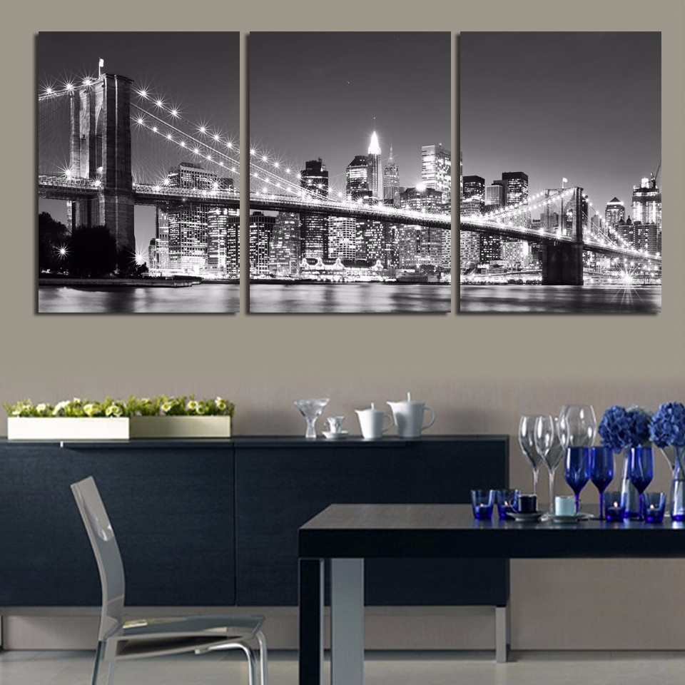 3 Pieces Night Of New York City On The Brooklyn Bridge Modern Home with regard to New York City Wall Art (Image 3 of 20)