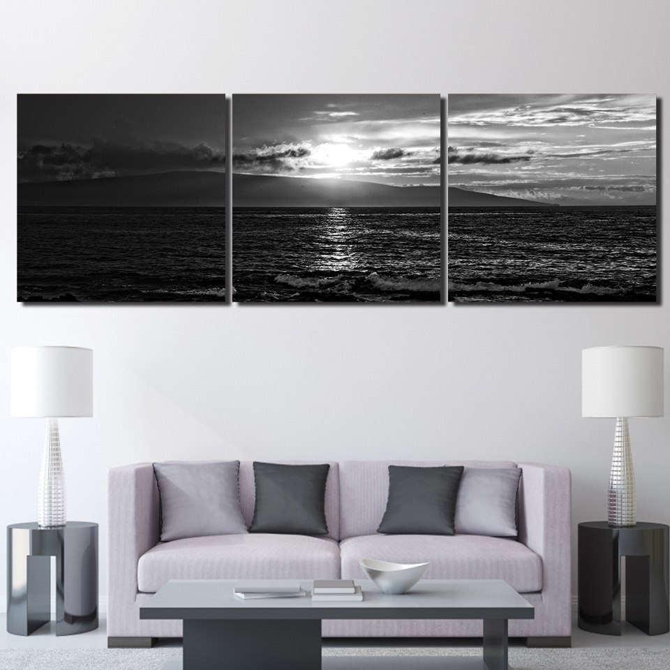 3 Pieces Seascape Sunset Black White Wall Art Canvas Pictures For Throughout White Wall Art (Photo 16 of 20)