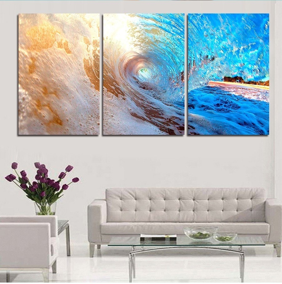 3 Plane Abstract Sea Wave Modern Home Decor Wall Art Canvas Blue within Ocean Wall Art (Image 3 of 20)