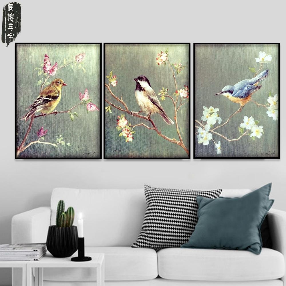 3 Wall Art Modern Painting Poster Bird Canvas Painting Prints Framed with Bird Framed Canvas Wall Art (Image 4 of 20)