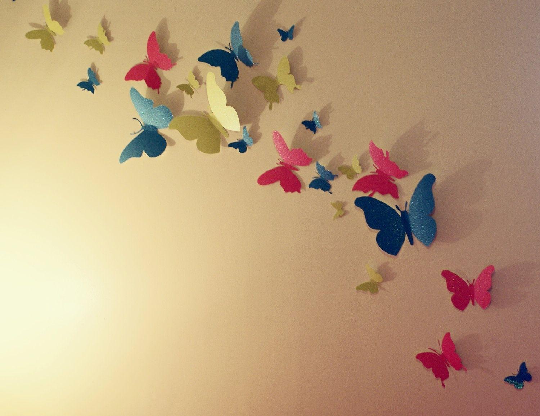 30 Glitter 3D Butterfly Wall Art Circle Burst | For The Home Regarding Butterfly Wall Art (Photo 19 of 20)