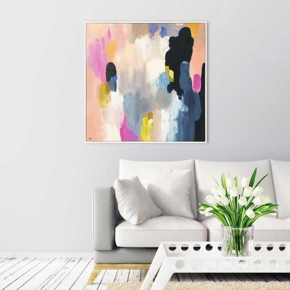 """30 In. X 30 In. """"happy Thoughts""""wynwood Studio Framed Printed Pertaining To Wall Canvas Art (Photo 15 of 20)"""