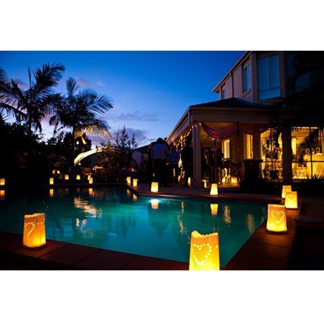 30 Pcs Tea Light Holder Luminous Paper Lantern Candle Bag For Party for Outdoor Pool Lanterns (Image 2 of 20)
