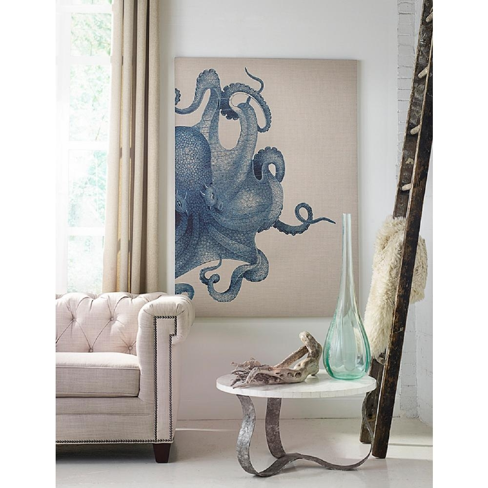 39 In. X 54 In. Octopus Study Blue Medium Splash Works Frameless With Octopus Wall Art (Photo 5 of 20)