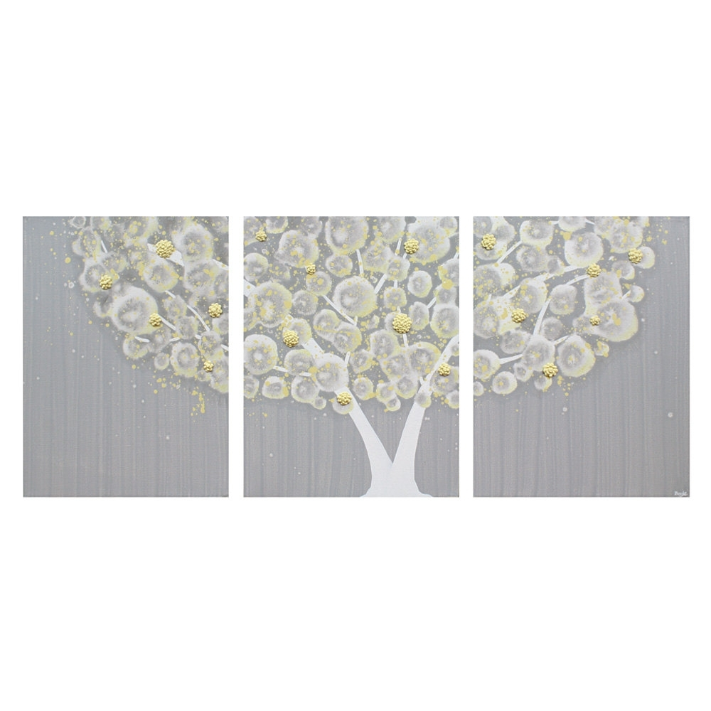 39 Yellow And Grey Wall Art, Gray And Yellow Wall Art Tree On Canvas In Yellow And Grey Wall Art (Photo 6 of 20)