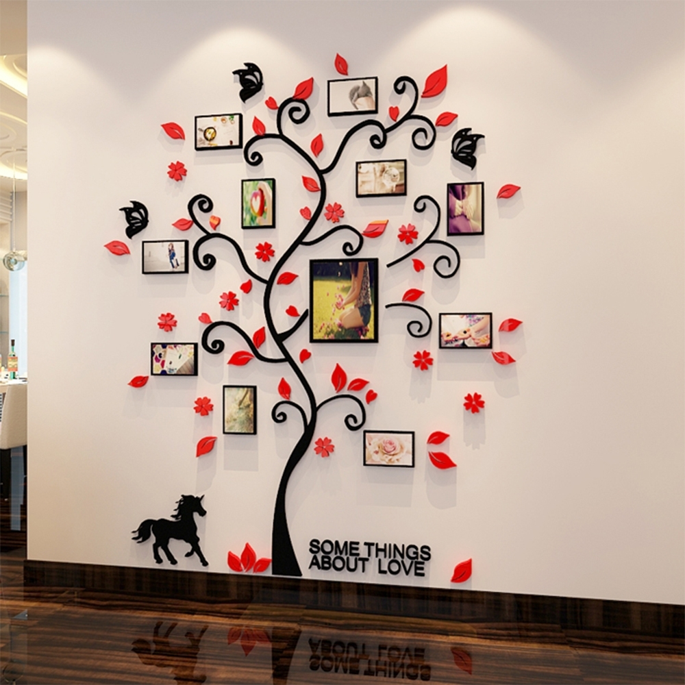 3D Acrylic Family Tree Wall Stickers With Photo Frame Living Room Pertaining To Family Tree Wall Art (Photo 5 of 20)