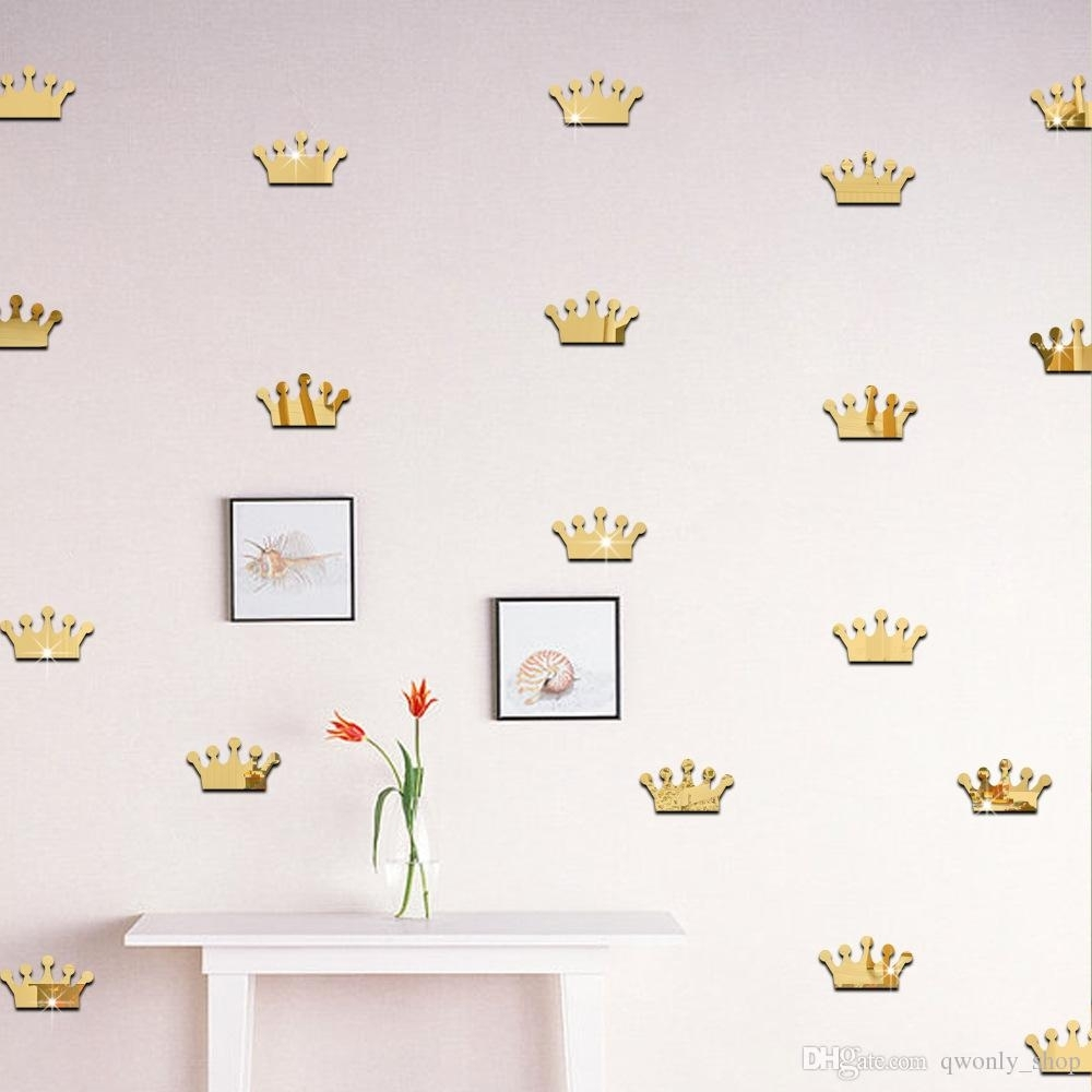 3D Acrylic Mirror Wall Stickers Kids Room Decoration Gold Silver Regarding Gold Wall Art (Photo 11 of 20)