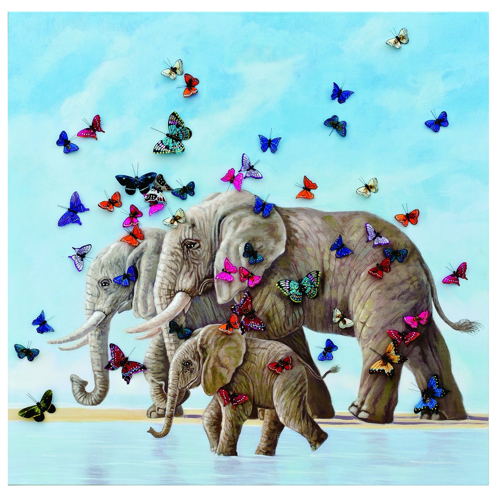 3D Butterfly & Elephant Wall Art | Living Rooms Direct Regarding Elephant Wall Art (Photo 20 of 20)