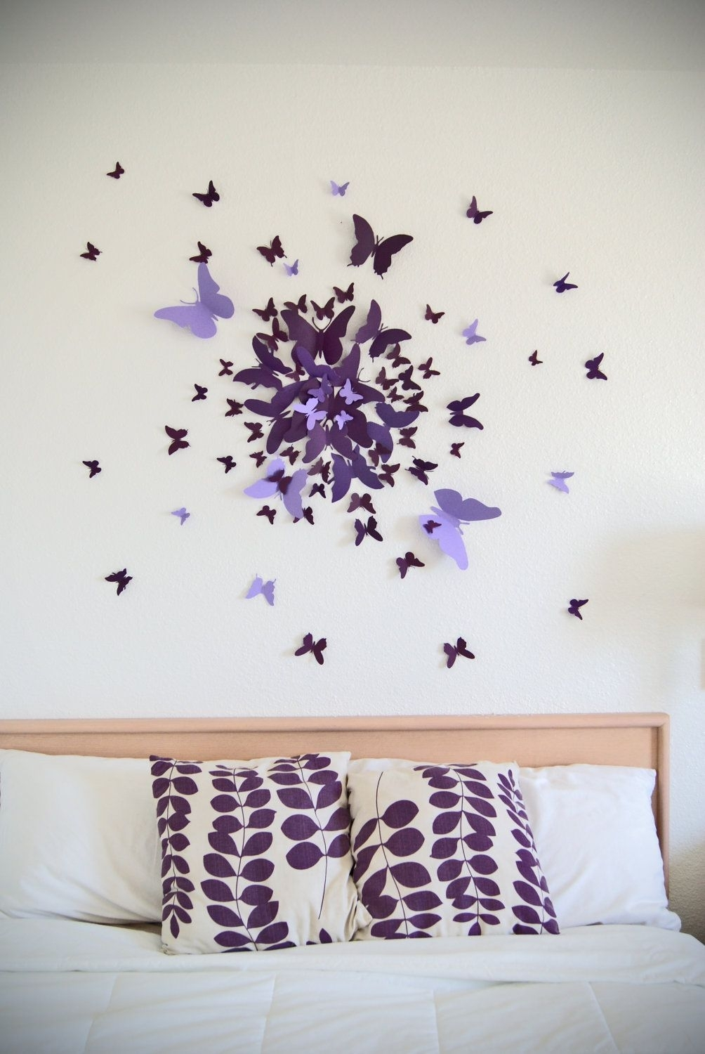 3D Butterfly Wall Art Decal Set Of 70 In Purple, Paper Butterflies Regarding Butterfly Wall Art (Photo 3 of 20)