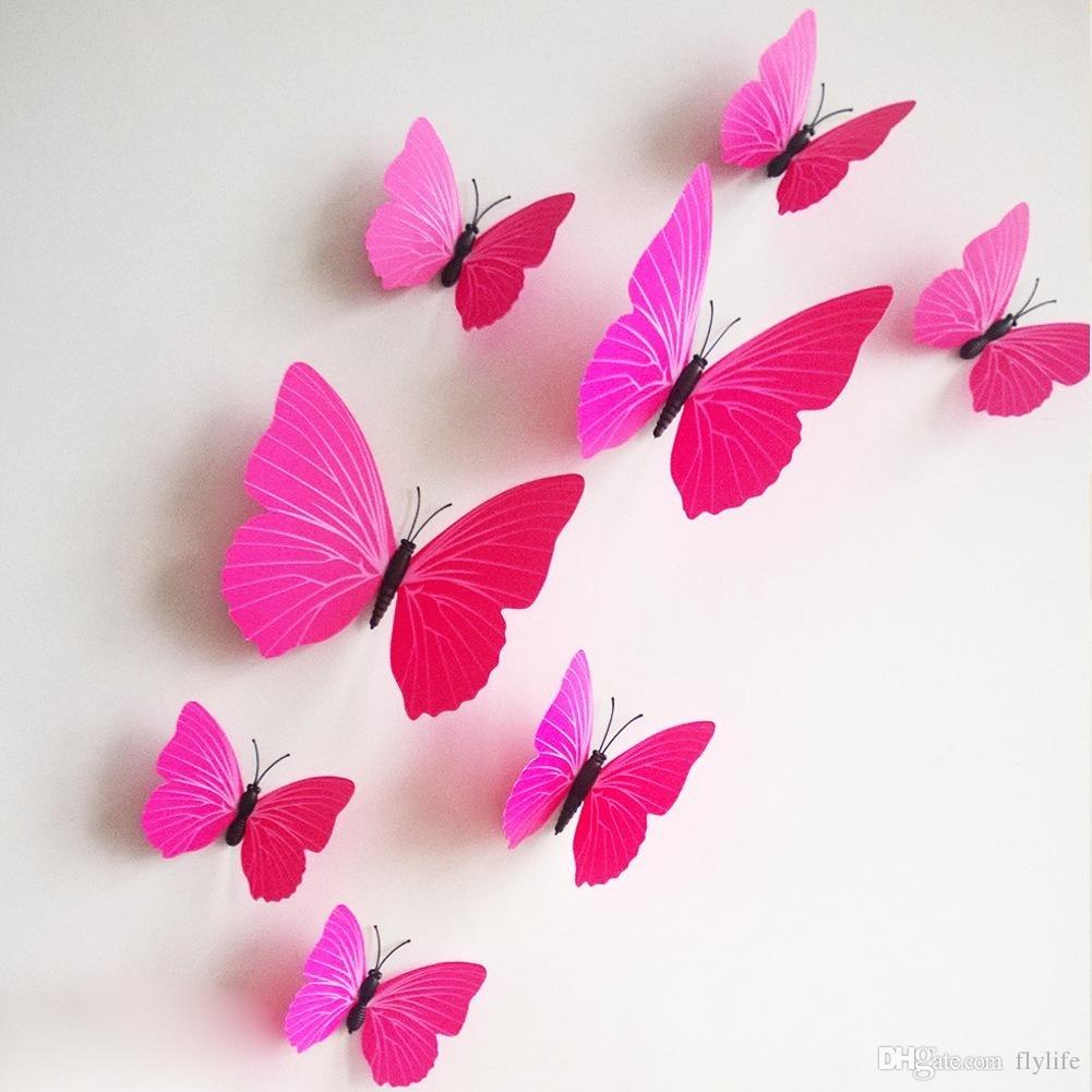 3D Butterfly Wall Stickers Decor Art Decorations Green Yellow Blue regarding Pink Wall Art (Image 3 of 20)