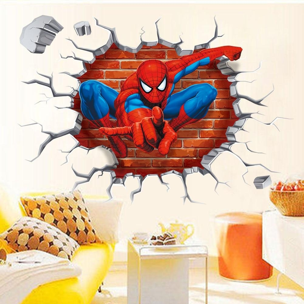 3D Effect Super Hero Spiderman Wall Stickers Decor Kid's Room Regarding Superhero Wall Art (Photo 9 of 20)