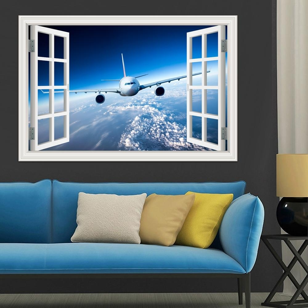 3D Landscape Wallpaper Airplane Wall Sticker Decal Vinyl Wall Art with regard to Airplane Wall Art (Image 6 of 20)