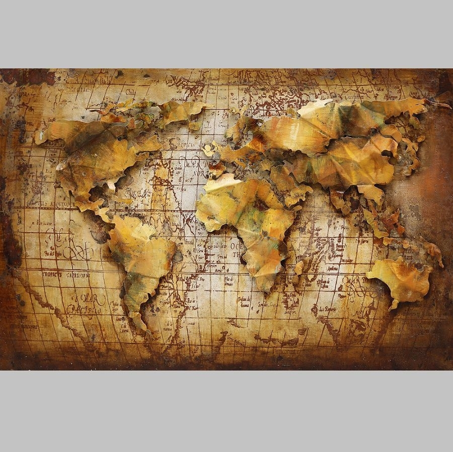 3D Metal Wall Art 3D World Map Painting - Avant-Garden Uk regarding 3D Metal Wall Art (Image 2 of 20)