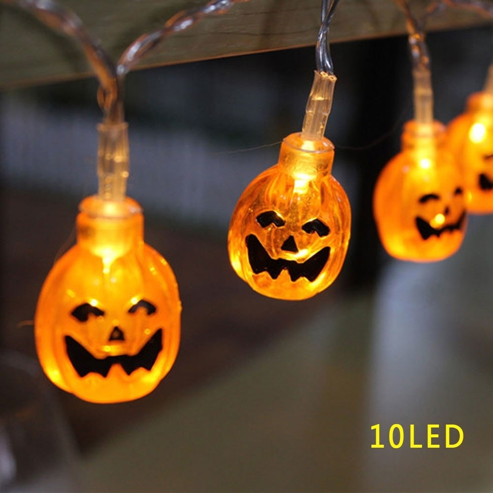 3D Pumpkin Lantern Stip Led String Light Halloween Decor 10Led regarding Outdoor Pumpkin Lanterns (Image 2 of 20)