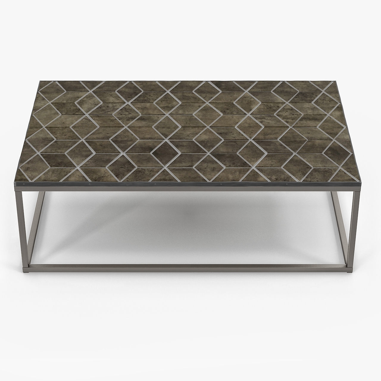 3D Restoration Hardware Metall Parquet Coffee Table in Parquet Coffee Tables (Image 2 of 30)