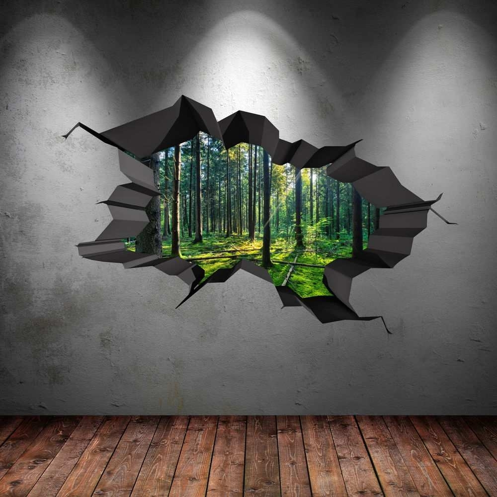 3D Wall Painting Beautiful Full Colour Woods Forest Trees Jungle With Regard To 3D Wall Art (View 7 of 20)
