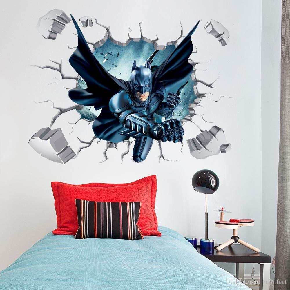 3D Wallpaper Cartoon Broken Wall Stickers Batman Wall Mural Sticker For Batman Wall Art (Photo 11 of 20)