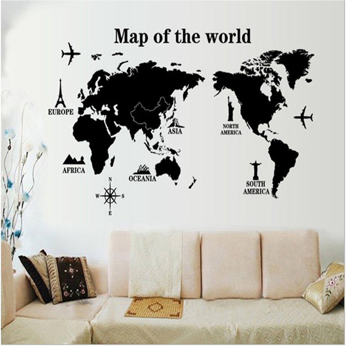 3d World Map Wall Decals Stickers Home Living Room Decoration Diy Throughout Wall Art Stickers World Map (View 11 of 20)