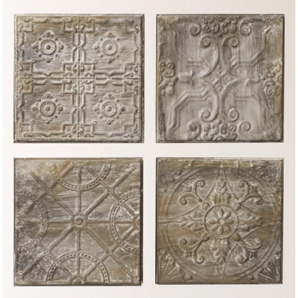 "3R Studios 12.5 In. H X 12.5 In. W ""antiqued Tin Tiles"" Wall Art Intended For Tin Wall Art (Photo 3 of 20)"