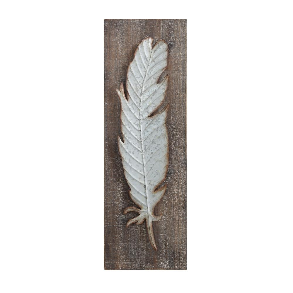 3R Studios Metal Feather Wood And Metal Wall Sculpture Da5884   The For Feather Wall Art (Photo 13 of 20)