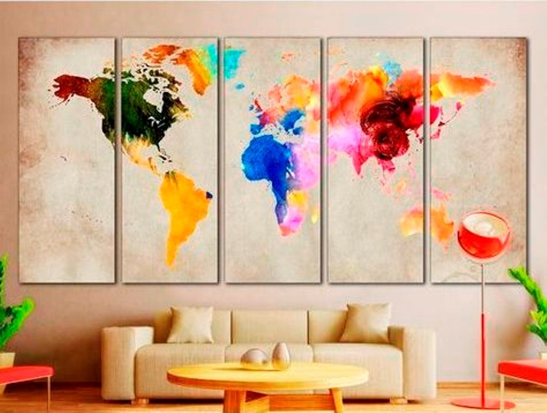 4 Creative World Map Canvas Prints Wall Art For Large Home Or Office with regard to Map Wall Art Prints (Image 1 of 20)