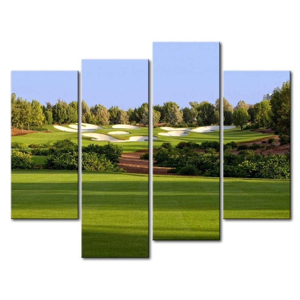 4 Hd Panel Wall Art Painting Jumeirah Golf Estates Trees Lawn Prints For Golf Canvas Wall Art (View 9 of 20)