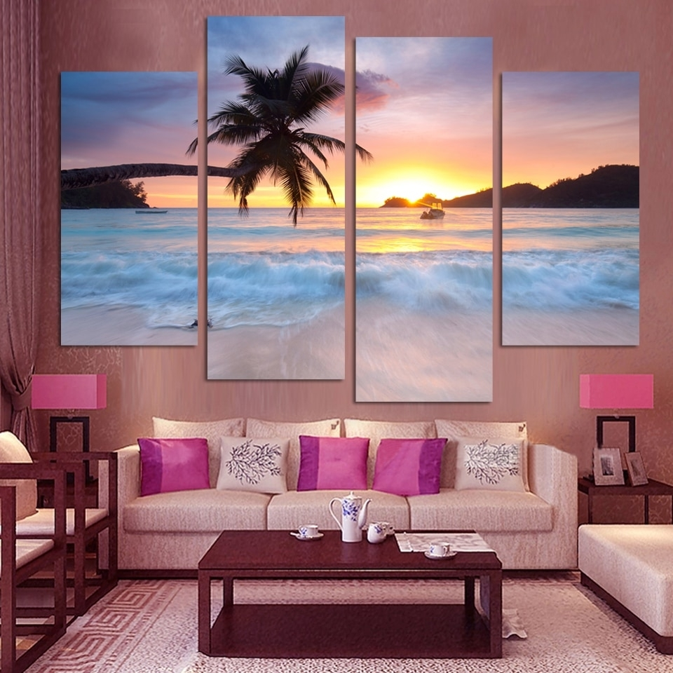 4 Pcs Ocean Sea Wall Art Modular Pictures Sunset Yellow Modern inside Ocean Wall Art (Image 4 of 20)