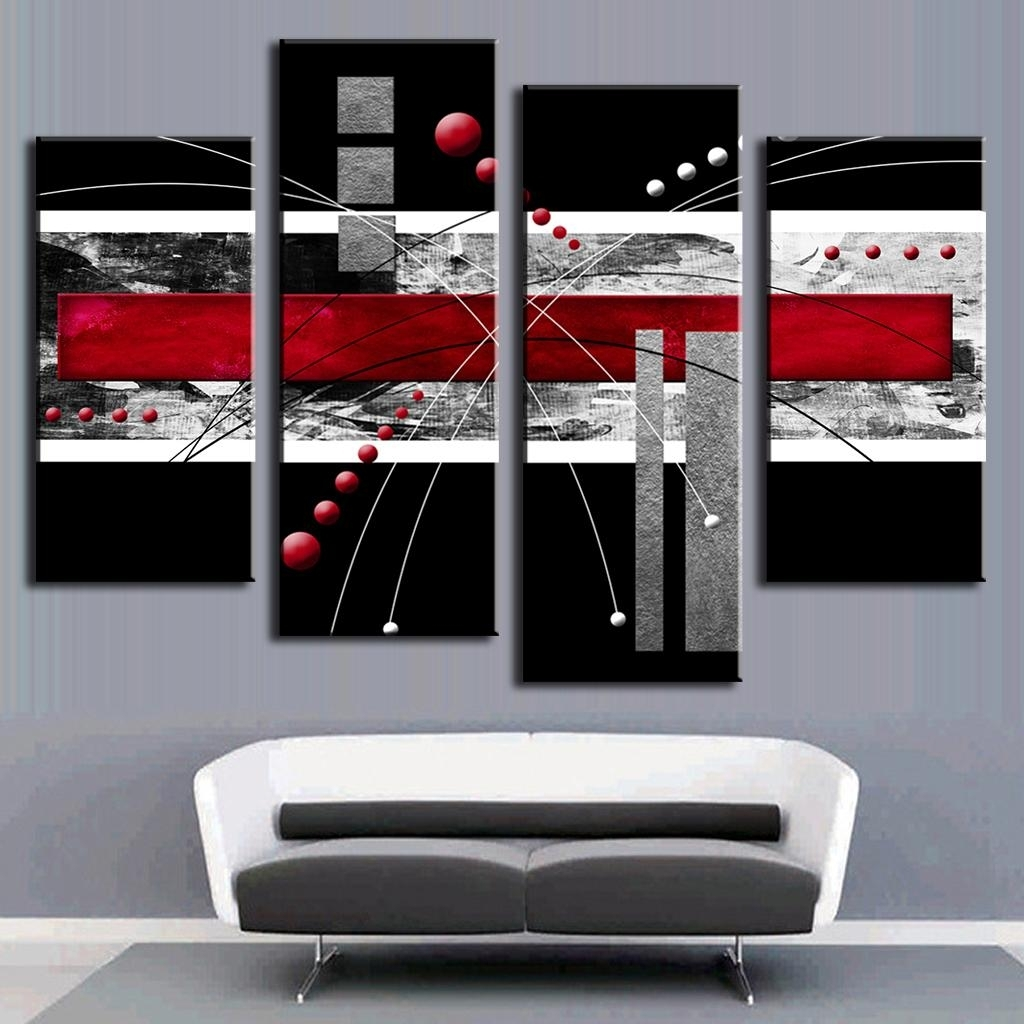 4 Pcs/set Abstract Wall Art Painting Modern Black Background Pertaining To Red And Black Canvas Wall Art (View 6 of 20)