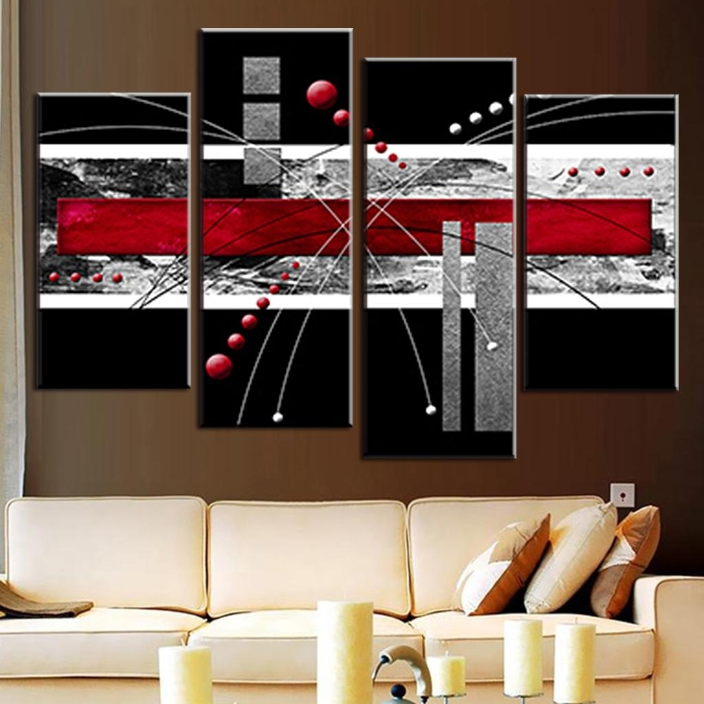 4 Pcs/set Canvas Wall Art Picture Red Black Grey Combined Canvas With Red And Black Canvas Wall Art (View 3 of 20)