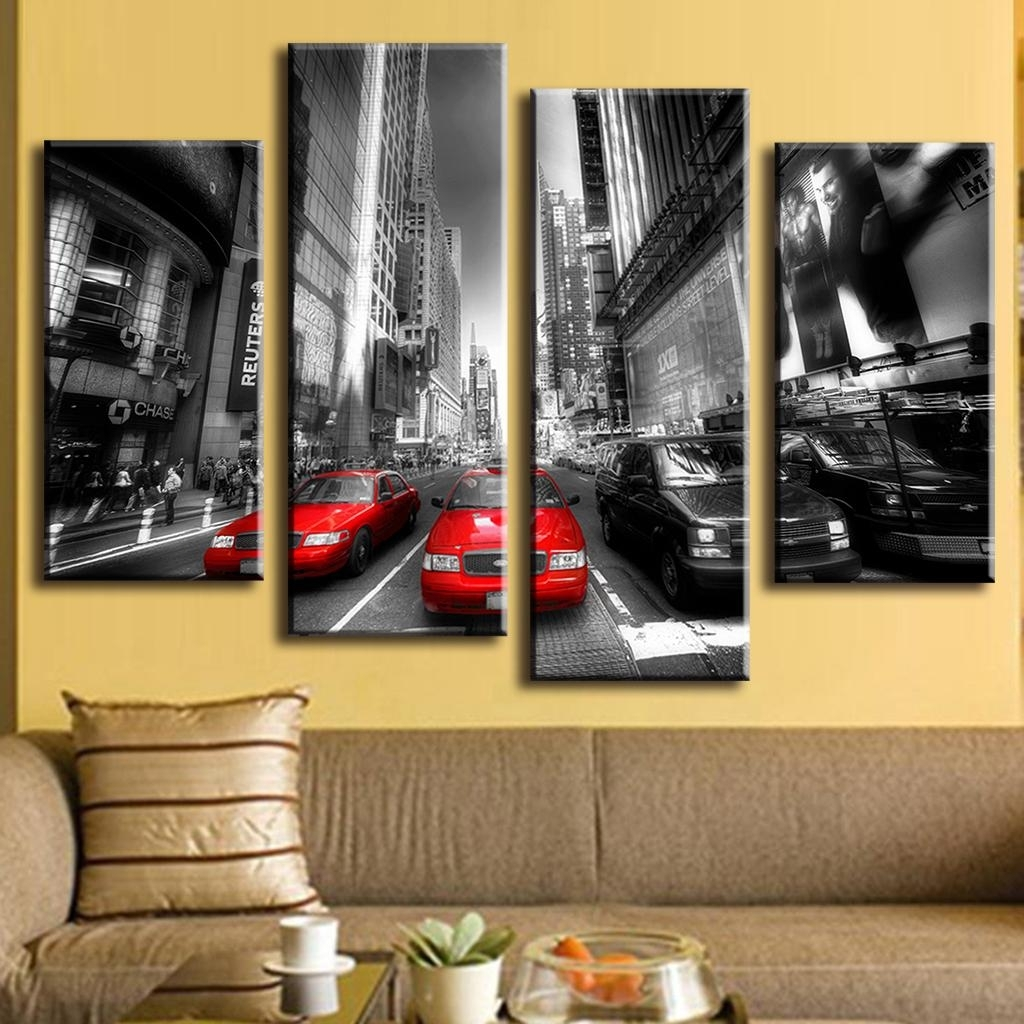 4 Pcs/set Landscape Car Wall Art Decoration Modern City Red Taxis On Inside 4 Piece Wall Art (View 13 of 20)