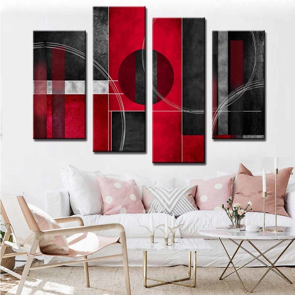 4 Pcs/set Large Abstract Wall Art Modular Pictures Red Black Circle Regarding Large Abstract Wall Art (View 16 of 20)