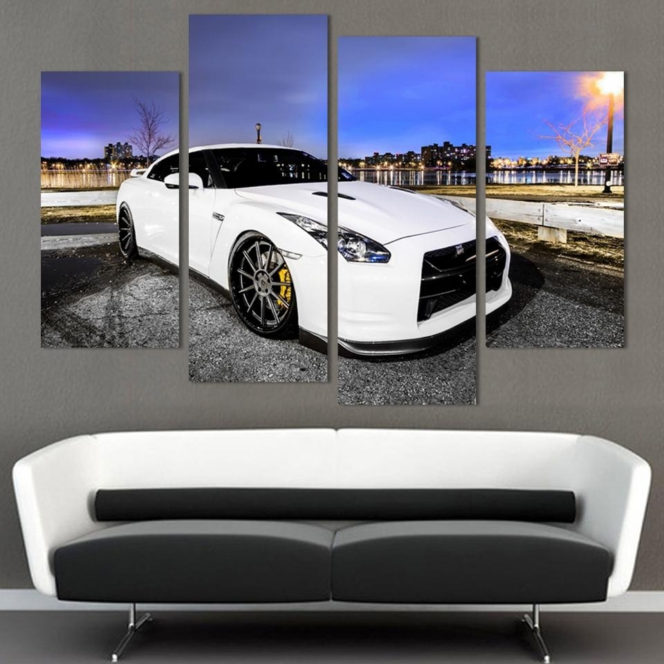 4 Pcs White Sports Car Wall Art Painting Home Decoration Living Room with regard to Car Canvas Wall Art (Image 8 of 20)