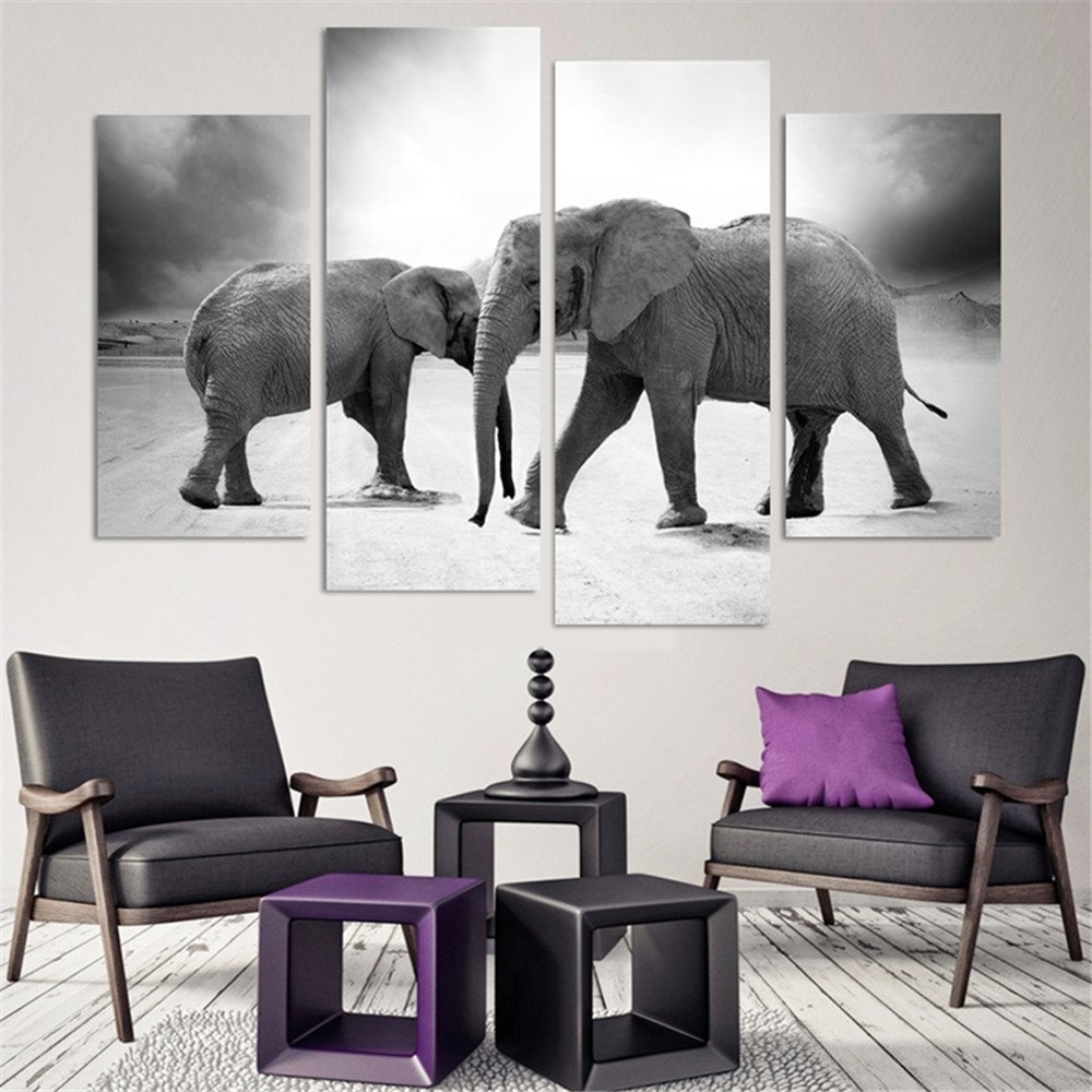4 Pcs(No Frame) Elephant Painting Canvas Wall Art Picture Home intended for Elephant Canvas Wall Art (Image 4 of 20)