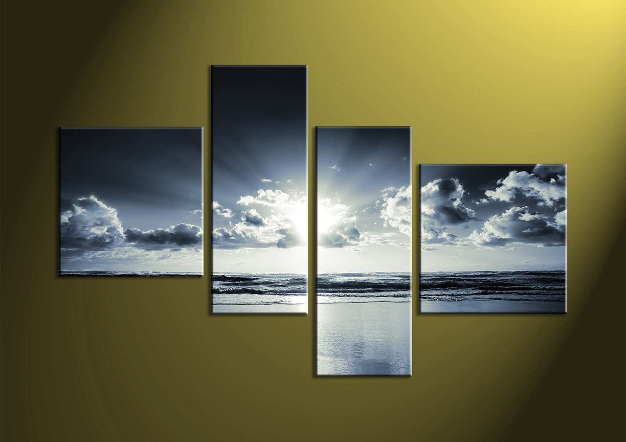 4 Piece Canvas Art Lovely 4 Piece Black And White Canvas Ocean In 4 Piece Wall Art (View 2 of 20)