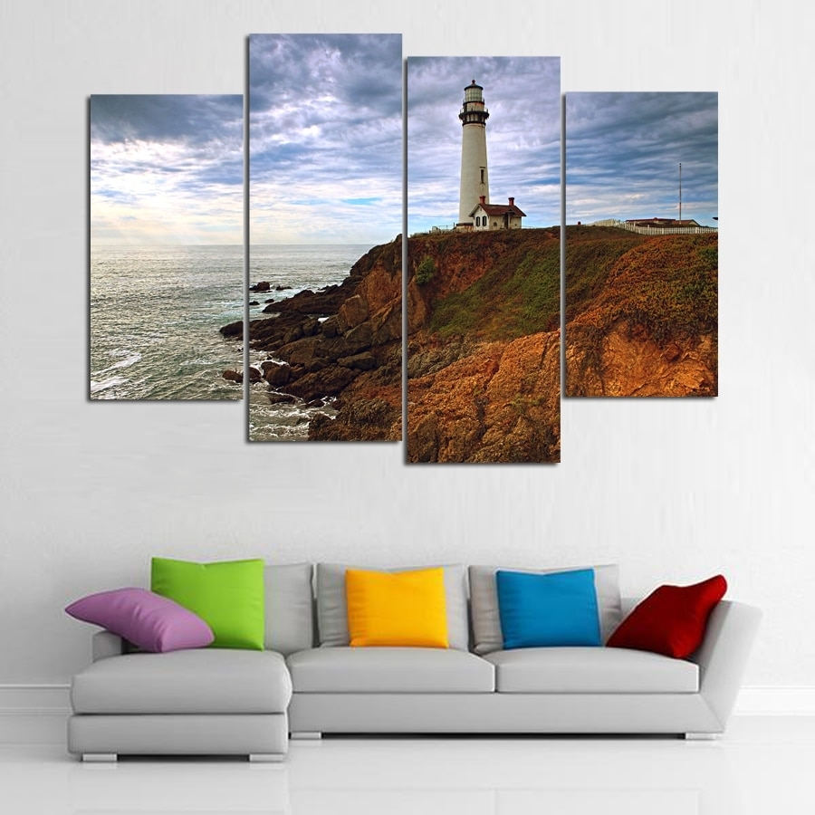 4 Piece Canvas Picture Lighthouses Painting Room Decor Print Poster pertaining to California Wall Art (Image 5 of 20)