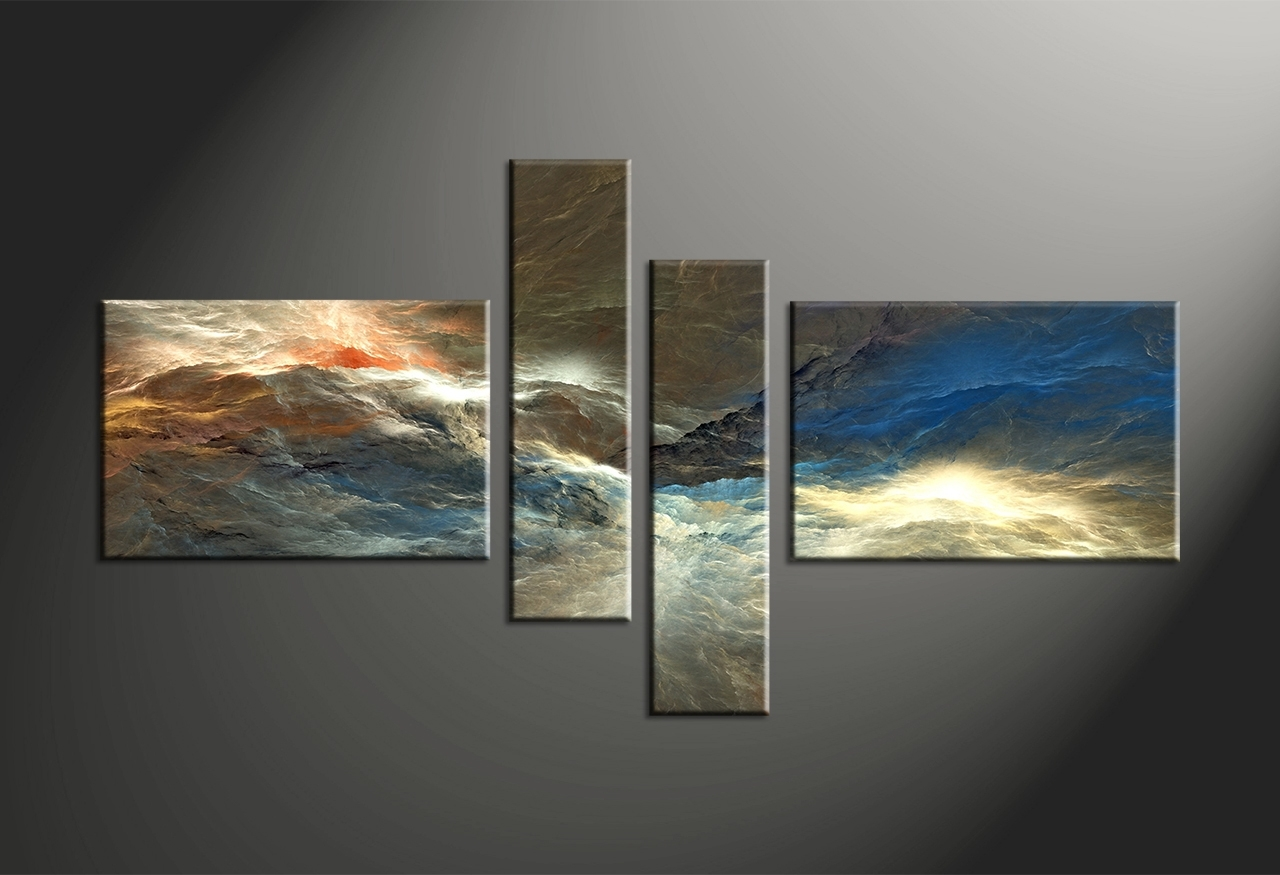 4 Piece Colorful Abstract Canvas Multi Panel Art, Multi Piece Wall within Multi Piece Wall Art (Image 6 of 20)